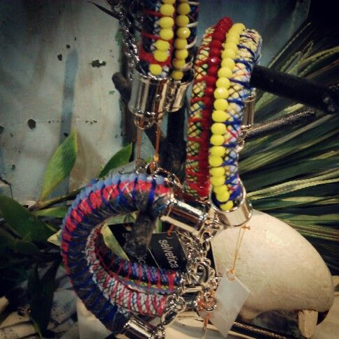 KIMI . Handmade bracelet made out of Ceko crystals, thread, wire wrapped cloth and metal. Made in Indonesia. $20