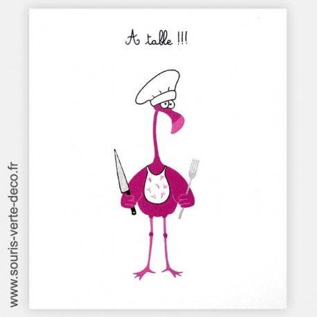 Plaque de porte de cuisine humoristique Flamant rose, personnalisable http://www.souris-verte-deco.fr/Boutique/plaques-portes-cuisines-buanderies-humoristiques-personnalisables/280-plaque-de-porte-cuisine-humoristique-flamant-rose-personnalisable.html
