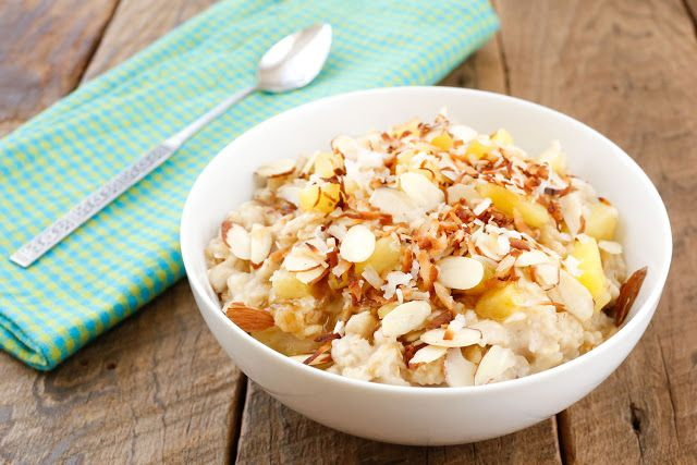 Hawaiian Oatmeal is a great way to start the day! Get the recipe at barefeetinthekitchen.com