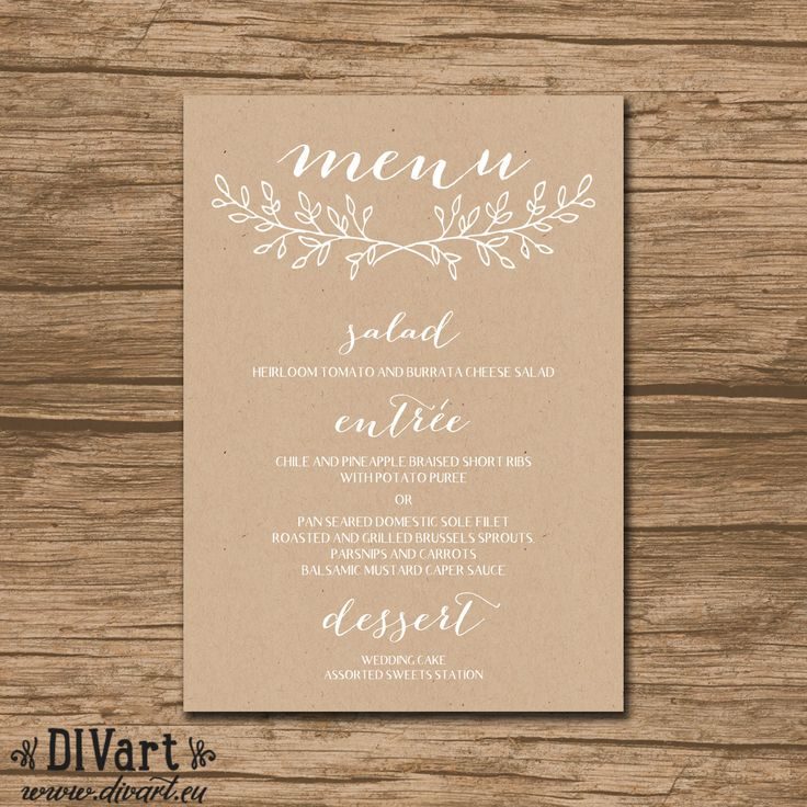Wedding Menu, Rehearsal Dinner Menu, Reception Menu - PRINTABLE file - garden, rustic wedding, wreath, kraft paper texture - 488 by DIVart on Etsy