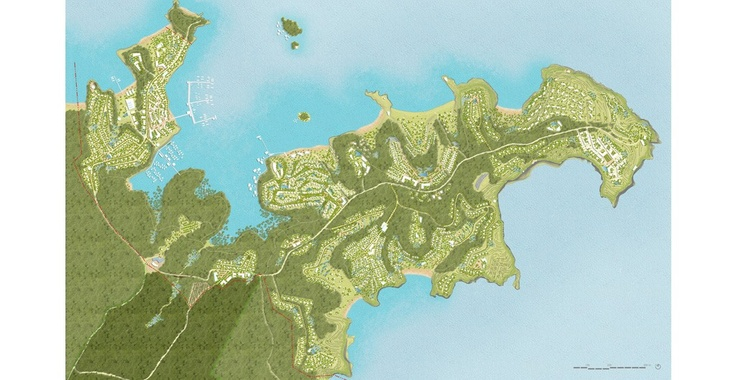 Map showing the proposed development enclaves and community forest area.    The masterplan for the #TanjungRInggit site has been created so as to attract the highest-profile eco tourism projects while simultaneously retaining, preserving, and restoring the natural #environment of the area. The primary goals are to address climate protection, #climate change, and water scarcity following the highest national and international standards yet based on fostering local and regional potentials.