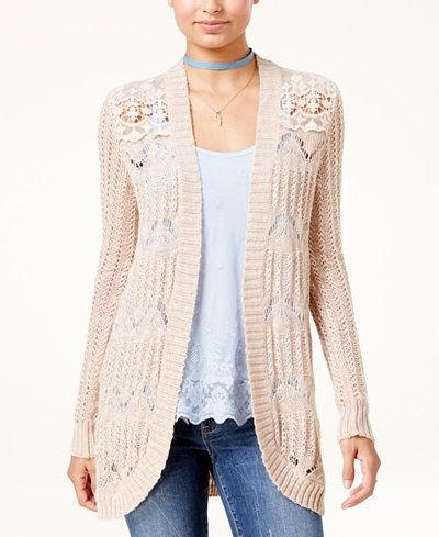 American Rag Juniors' Crochet-Trim Knit Cardigan, Created for Macy's
