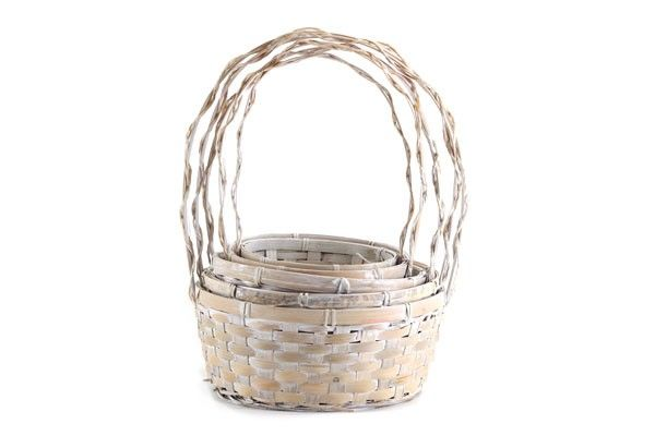Set/5 Antique White Round Baskets with Handle