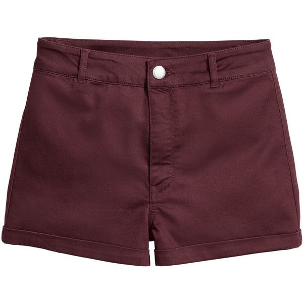 H&M Shorts High Waist $9.99 (33 PEN) ❤ liked on Polyvore featuring shorts, bottoms, pants, high rise shorts, burgundy high waisted shorts, high-rise shorts, twill shorts and h&m shorts