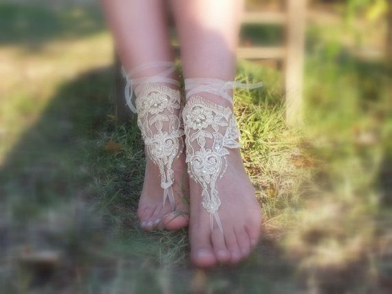 Free Ship  bridal anklet champagne sandals Beach by WEDDINGGloves