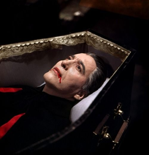 dracula in his coffin hammer films scary stuff