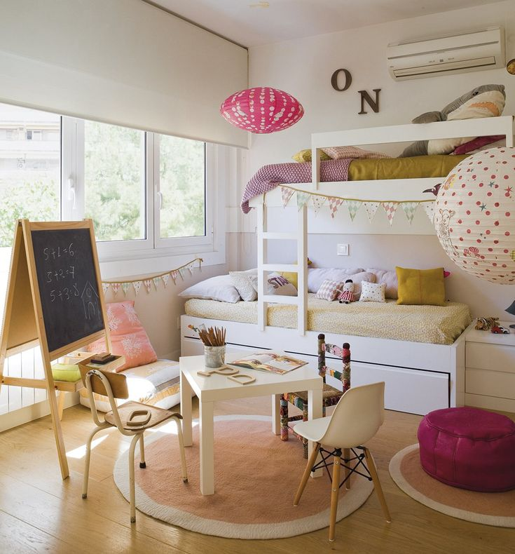 bunk bed in a girls room, light and modern.: