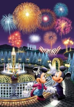 Tenyo Disney Firework Stained Art Jigsaw Puzzles. Minnie & Mickey Mouse