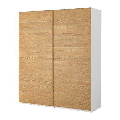 Nya garderober!  PAX Garderob med skjutdörrar - Pax Malm ek, vit, 150x66x236 cm - IKEA