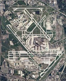 O'Hare International Airport (2012 world air cargo traffic ranking = nr.17), also known as O'Hare Airport, O'Hare Field, Chicago International Airport, or simply O'Hare, is a major airport located in the northwestern-most corner of Chicago, Illinois, United States, 17 miles (27 km) northwest of the Chicago Loop (the CBD). It is the primary airport serving the Chicago area.