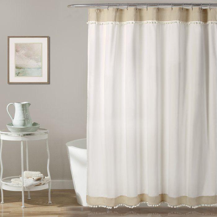 Adelyn Pom Shower Curtain Neutral 72 Inch X Beige