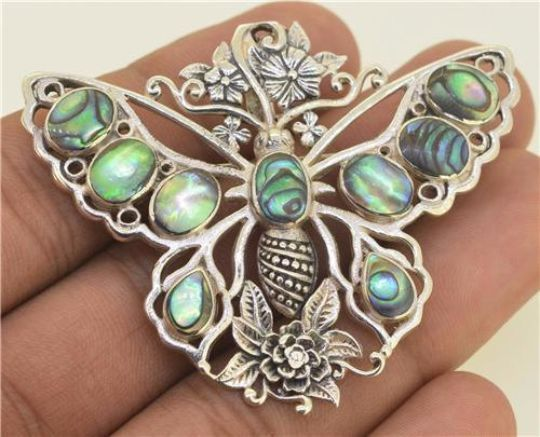 Jewelry With Soul Paua Abalone Butterfly 925 Sterling Silver Pin Pendant
