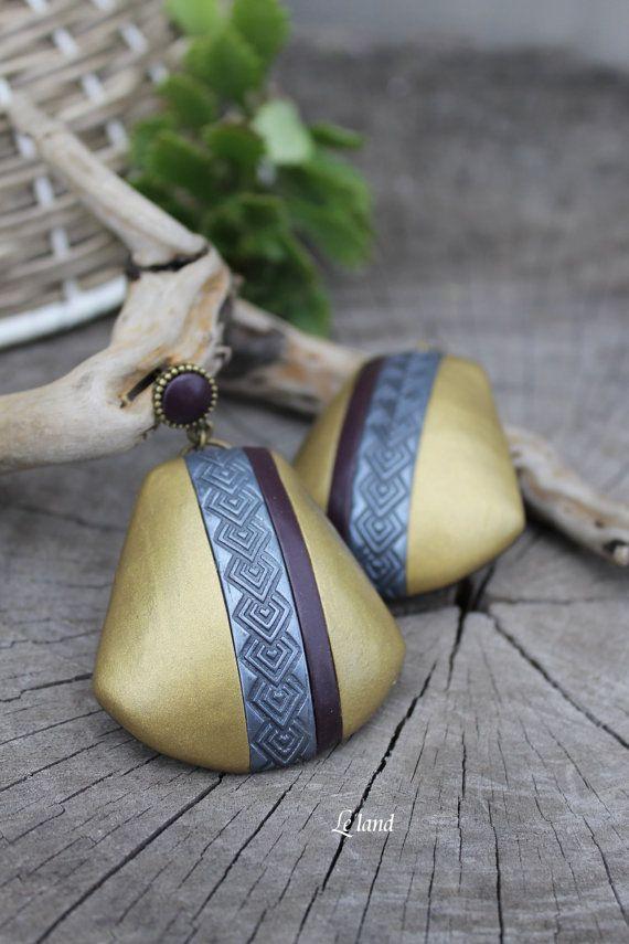 Art Deco Jewelry Gold Statement Earrings Cocktail by Lelandjewelry