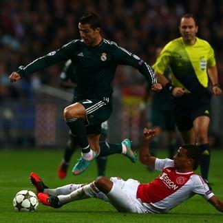 Ricardo van Rhijn, Ajax & Cristiano Ronaldo, Real Madrid. | Ajax 1-4 Real Madrid. 03.10.12.