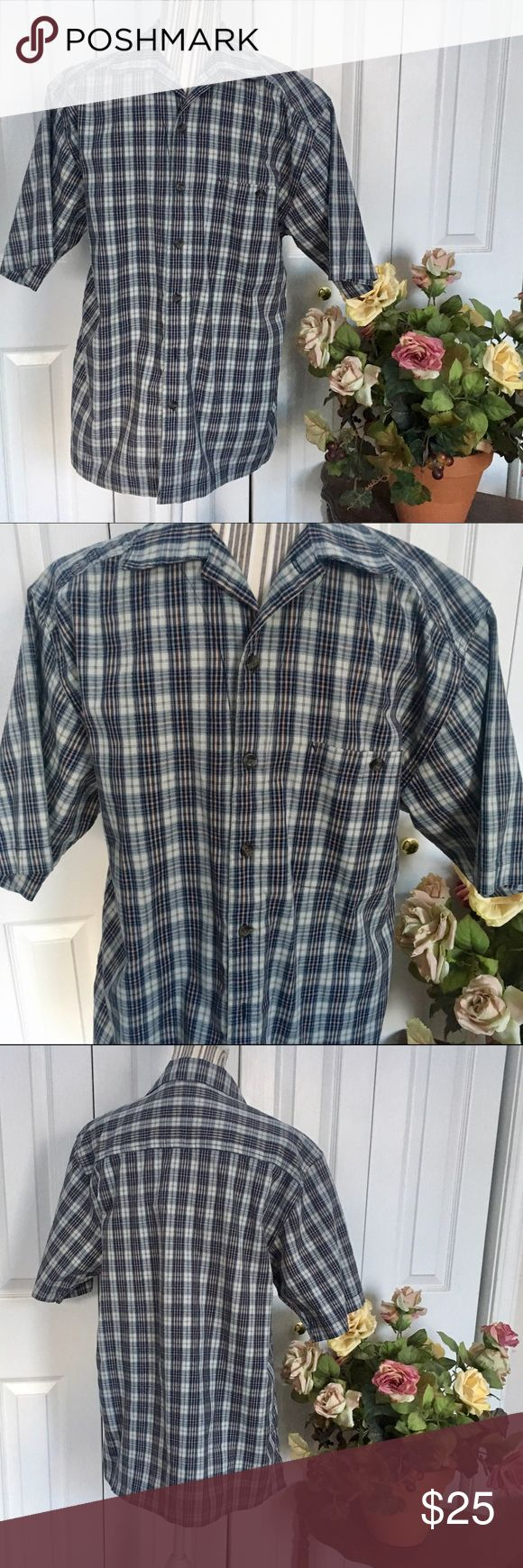 WOLVERINE Men's short sleeve button up shirt This Men's Wolverine short sleeve button up shirt is in blue check with an orange accent throughout.   Front patch button pocket on breast.   Size M.   EUC, no flaws.  Bundle discount in my closet💕 Wolverine Shirts Casual Button Down Shirts