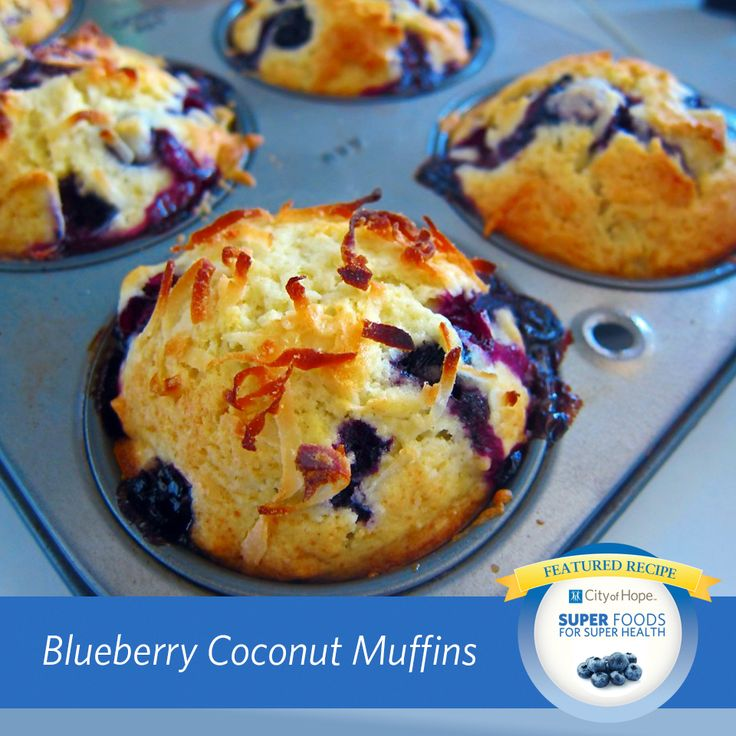 Great for breakfast or a snack, these blueberry coconut muffins from Let Me Eat Cake are packed with cancer-fighting berries. According to City of Hope research, blueberries contain phytochemicals that can inhibit the growth of breast cancer.
