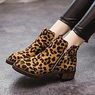 Stövlar ( Svart/Burgundy/Djurtryck ) - till KVINNOR - Tossor / kängor - med Chunky klack - Rundtå/Fashion Boots - i Imitationsmocka