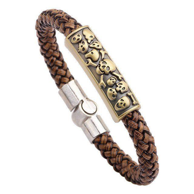 Vintage Brown Braided Genuine Leather Bracelet With Skulls