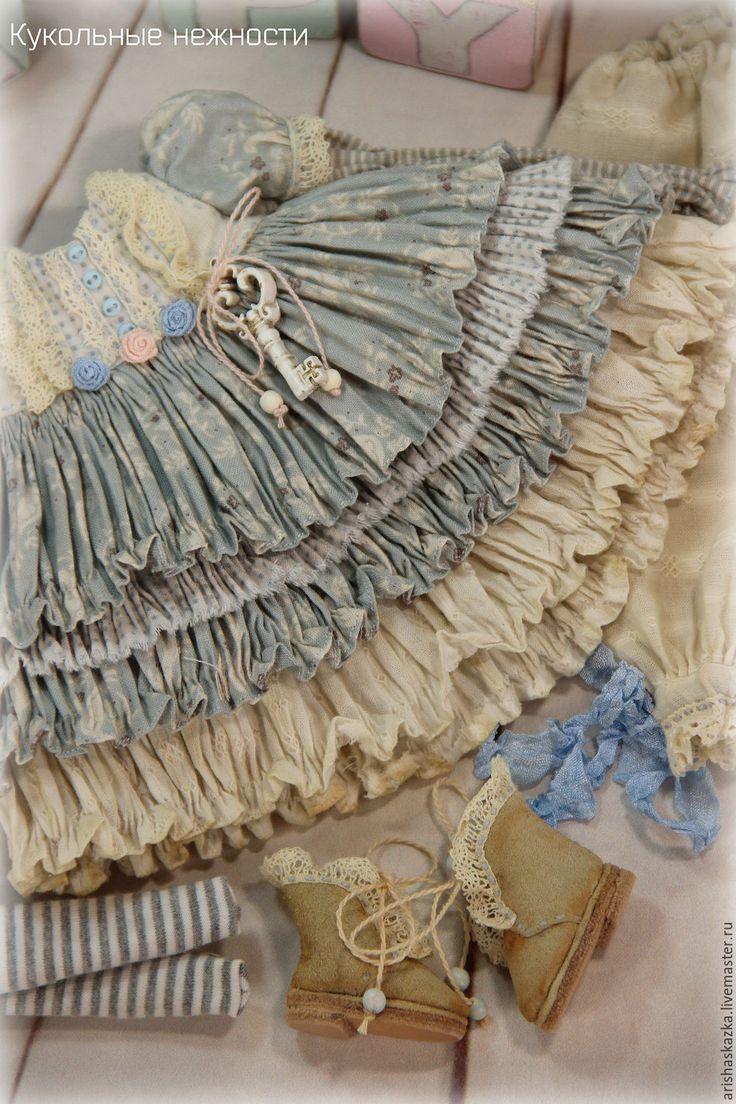Купить Мастер - класс платье для куклы в стиле шебби , бохо - голубой, мастер-класс