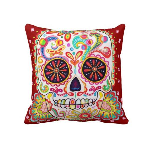 Psychedelic sugar skull pillow