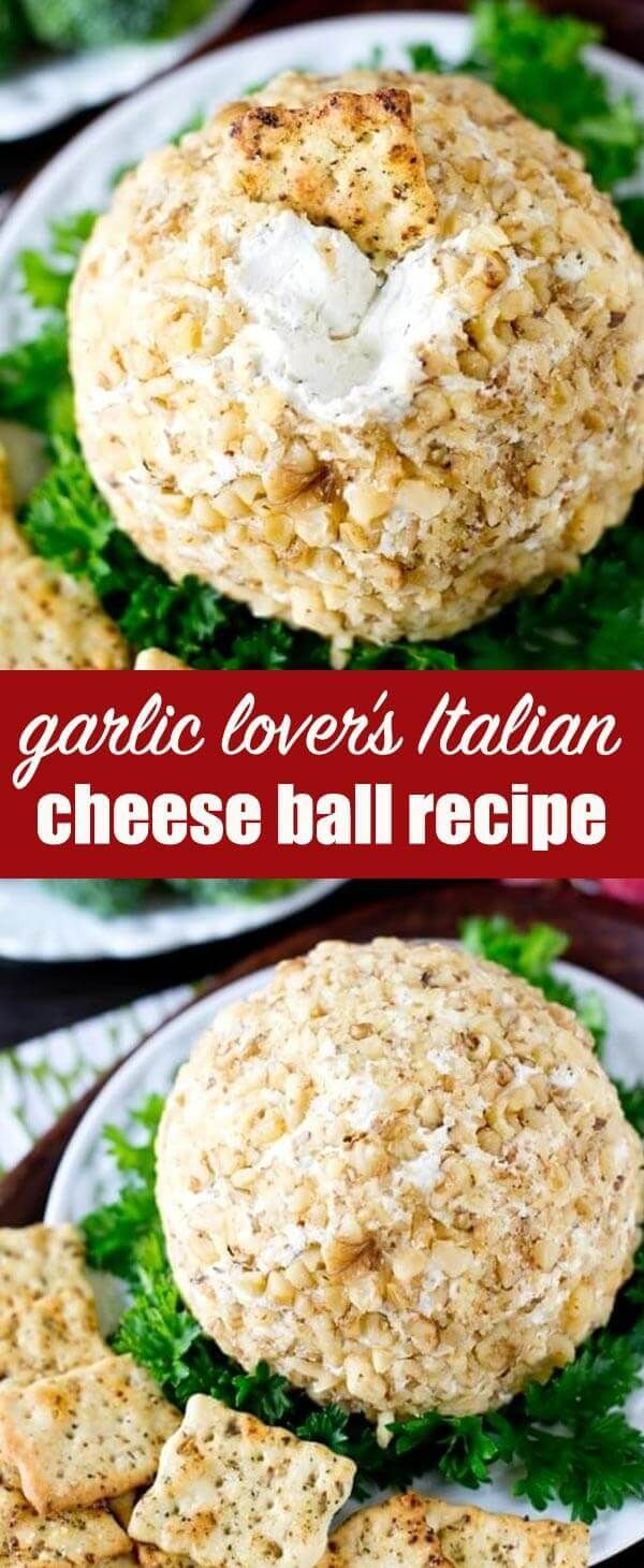This Garlic Cheese Ball pairs perfectly with Italian herb crackers for a simple, 5 minute appetizer that is full of garlic cheese flavors. via @tastesoflizzyt