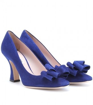 ShopStyle: Miu Miu SUEDE BOW PUMPS WITH FLARED HEELS