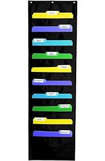 Ideal for creating a complete classroom organization system and perfect for homework assignments, communication, center management, and more. The Storage: Black Pocket Chart has 10 fabric pockets for