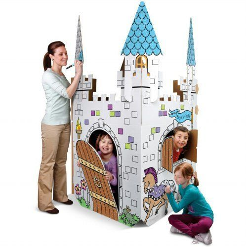 Discovery Kids Cardboard Play Castle Eco Friendly Color Me Amazon