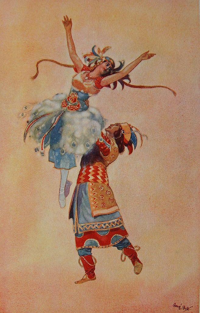 Ballet L'Oiseau de Feu (1913). Illustration by René Bull.The Russian Ballet. A. E. Johnson. Boston & New York: Houghton Mifflin Company...