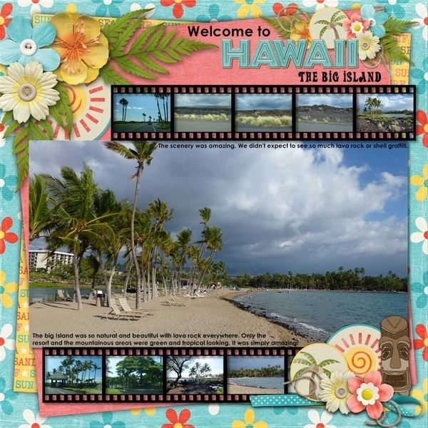 #papercraft #scrapbook #layout.  travel scrapbook layout beach Hawaii, by basketladyaudry at Gingerscarps gallery.  Like this layout for other destinations