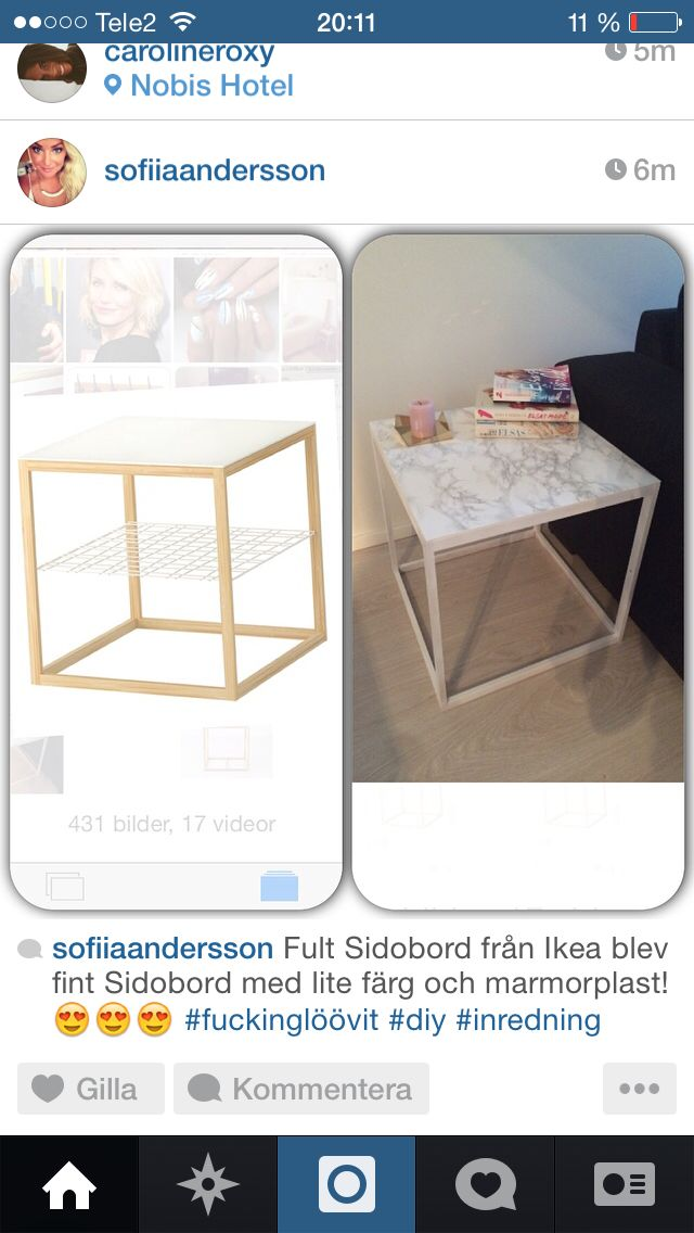 Diy beside table from Ikea
