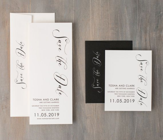 "Calligraphy Save the Dates, Modern Wedding Save the Dates, Urban Industrial Wedding - ""Black Script"" Save the Dates"
