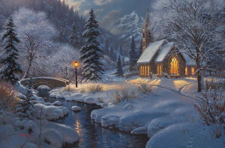 old cabin winter scene wallpaper - photo #36