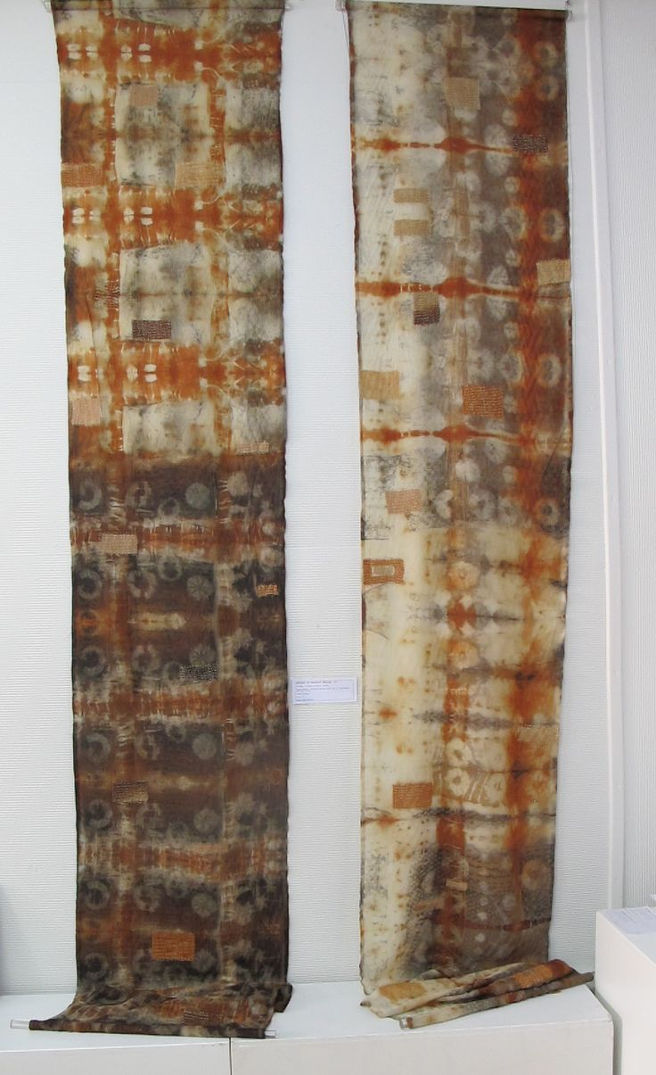 'SHROUD OF ANCIENT ECHOES' wool, itajime and katano, leaf embossing, dyed with Gondwana Colour Eucalyptus dye by  Susan Fell Mclean
