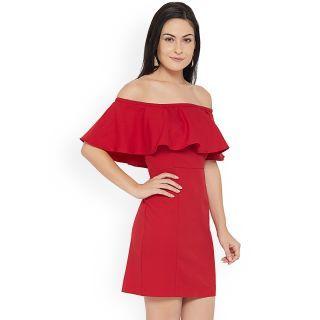Aashish Garments Red Plain Off Shoulder Dress For Women