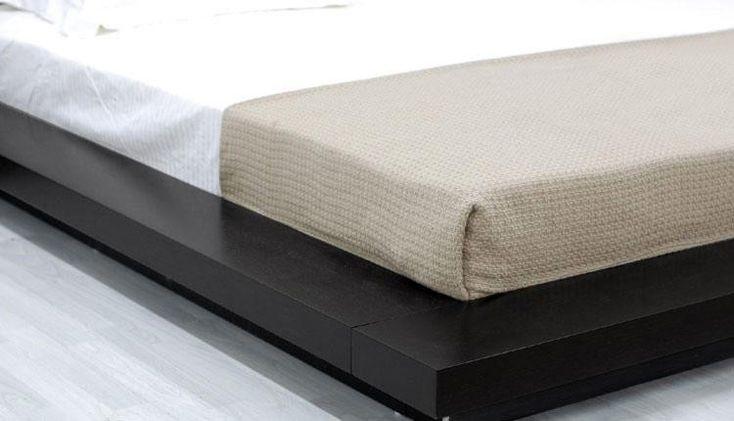 Modrest Opal - Low Profile Black Oak Japanese Platform Bed with Nightstands - Bedroom
