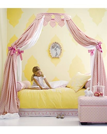 @Serena and @Lilly Oh isabel duvet - such a cute #bed canopy for a #nursery and I love the #yellow #wallpaper with #pastel Pink and bed curtains are so charming