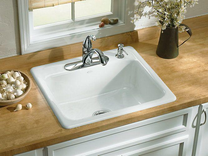 Cast Iron Drop In Sink In 2020 Drop In Kitchen Sink Top Mount Kitchen Sink White Kitchen Sink