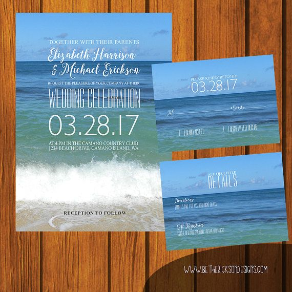 Uitnodiging bruiloft strand / strand bruiloft Suite / realistisch Suite / Sunset / Blue / Casual / verjaardag