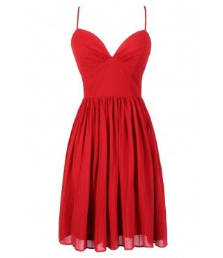 Cute Red Dress, Cute Holiday Dress, Cute Christmas Dress, Red Cocktail Dress, Red Party Dress, Red A-Line Dress, Red Spaghetti Strap Dress