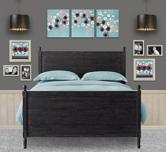 Black, Rose Red, Ocean Breeze Blue, and Khaki Bedroom Color Scheme Rose Painting by Amborela