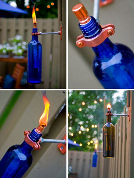 Such a fun and easy way to recycle wine bottles!: Wine Bottle Crafts, Recycled Bottle, Idea, Recycled Wine Bottle, Wine Bottle Torches, Backyard, Wine Bottles, Tiki Torches, Old Wine Bottle