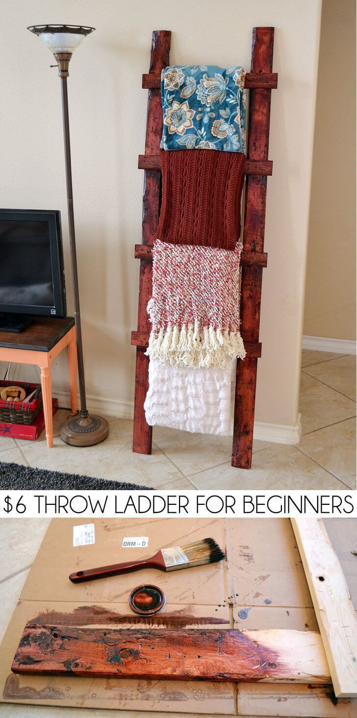 b2d09eeeab2 Even a total beginner can make this simple, rustic throw ladder for about  $6!!!