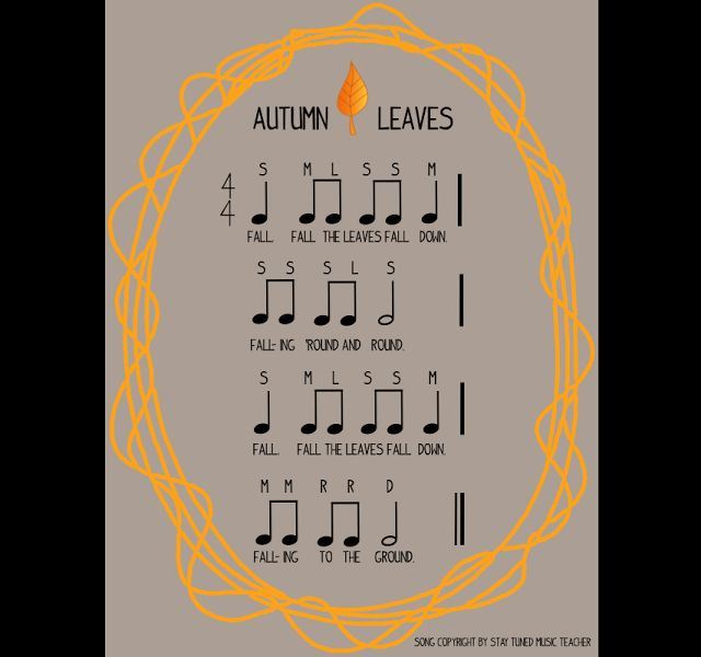 2/4 Tuesday! FREE Rhythm Cards, Autumn Leaves Song and Sound Cards! With ideas for special needs students too :)