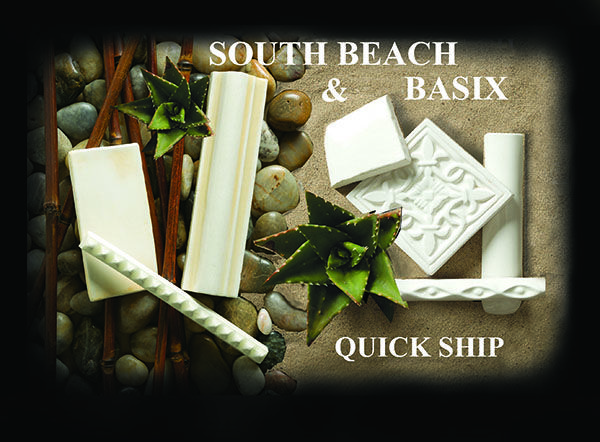 14-Quick Ship South Beach & Basix Handmade Hand painted Custom Designer Ceramic Tile & Molding. EXCLUSIVE STOCKING DISTRIBUTOR LOCATIONS AVAILABLE SOUTH BEACH and BASIX are our handmade, in stock quick ship programs. As with...