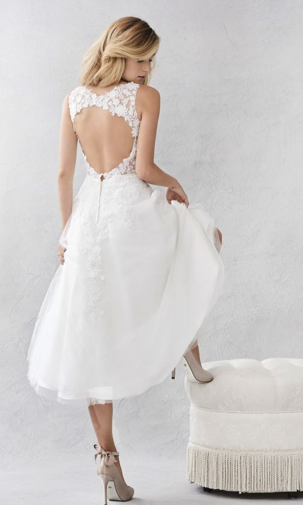 Style BE377, Ella Rosa Tea-length wedding gown with floral lace and keyhole back