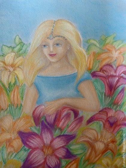Лилия - волшебница страны цветов. - картина,пастель,сказка,пастельная бумага