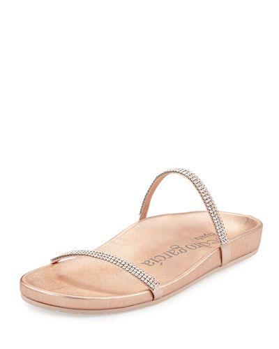 X3MTA Pedro Garcia Amanda Crystal Flat Slide Sandal