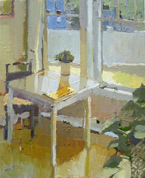 ◇ Artful Interiors ◇ paintings of beautiful rooms - Carol Rabe - Yellow Napkin
