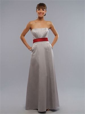 could change colour of sash? A-line Strapless With Belt Dark Silver And Red Bridesmaid Dress BD0069
